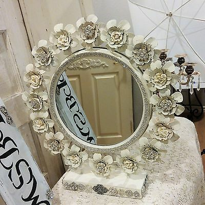 Gorgeous tole Metal ROSE floral Mirror * Vintage Rhinestones jewelry lot earring