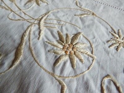 Antique Linen Damask Tablecloth Topper w Silk Embroidery Flowers