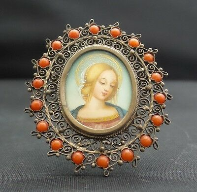 RARE VINTAGE ANTIQUE ITALIAN 800 SILVER PAINTED PORTRAIT PIN Pendant, FRAME!