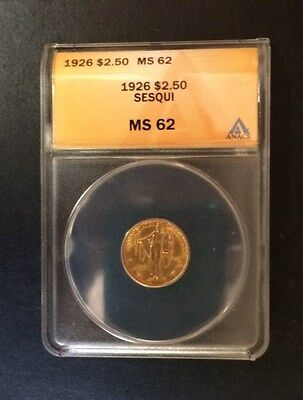 1926 $2 1/2 Gold Sesquicentennial Anacs Ms 62