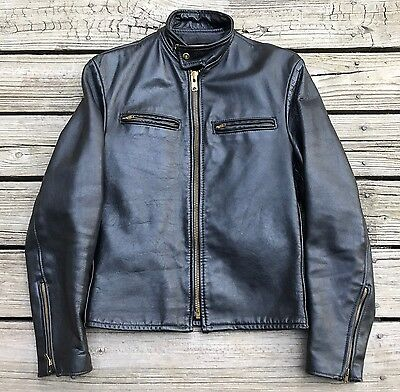 Vintage REX SADDLERY Black Leather Biker Cafe Racer Motorcycle Jacket Men's 40