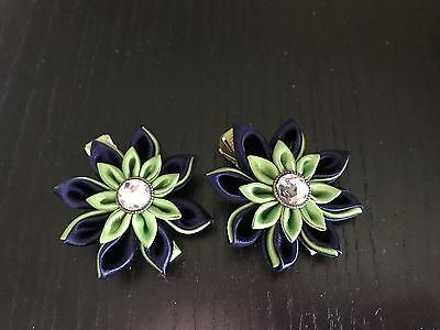 Kanzashi Flower Girls Hair Bow Set, Seahawks Green and Blue