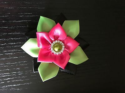 Kanzashi Flower Girls Hair Bow- Hot Pink, Green and Black