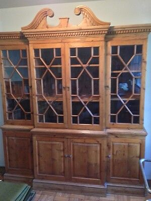 Rustic English Breakfront China Cabinet
