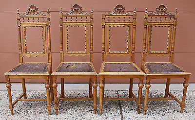 Victorian Antique Set 4 Carved  Dining Room Chairs