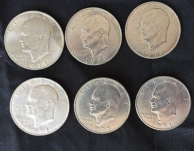 1971D Eisenhower IKE Dollar - (6) -Vintage coins from the 1970s