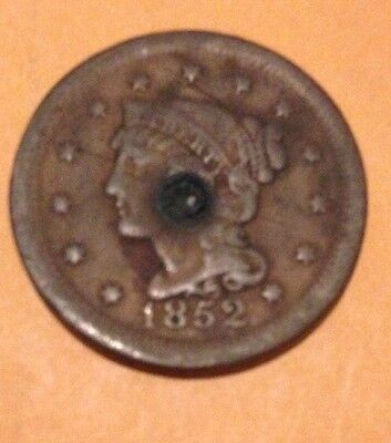 1852 Braided Hair Large Cent 1c, Copper Penny