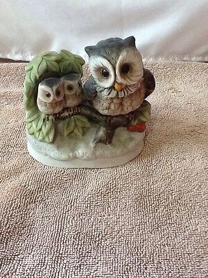 "Vintage Homco Family Owls Porcelain Ceramic 4"" Figurine Taiwan"