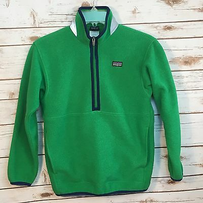 Patagonia Synchilla Boys Green Blue 1/2 Zip Fleece Pullover Jacket Size M 10