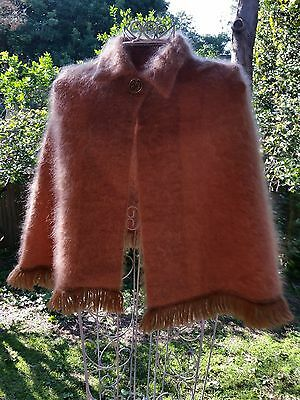 VINTAGE CAMEL MOHAIR WOOL CAPE PONCHO COAT  One size made in Scotland