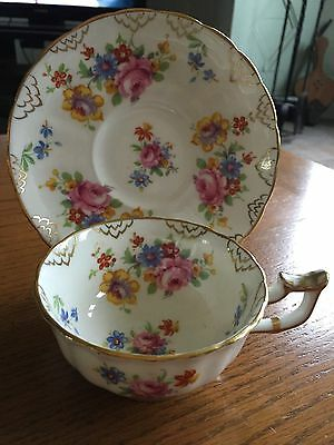 Vintage Royal Chelsea Wide Mouth Floral Tea Cup and Saucer