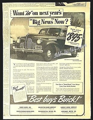 1940 BUICK BUSINESS COUPE License Plate $895 Automobile Car Vtg Newspaper AD