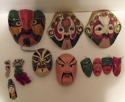 12 Antique Paper, Wood, And Ceramic Masks From 100 Year Old Estate World Travels