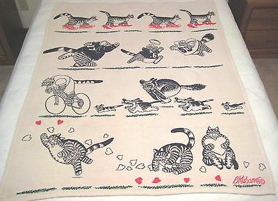 Vintage Kliban Cat Woven Throw Blanket