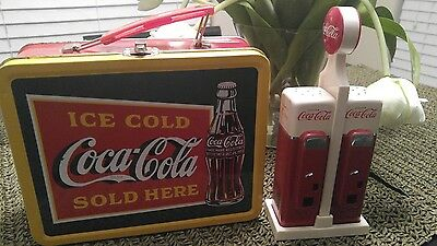 Coca cola salt and pepper shakers with lunch box