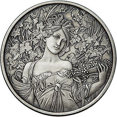 Alphonse Mucha Collection - CHAMPAGNE 5 oz Silver Antiqued Finish Round USA Coin