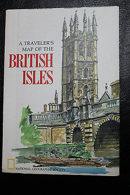 1974 National Geographic A Traveler's Map of the British Isles