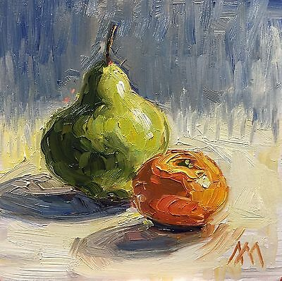 "6""x6"" Original Oil Painting, Pear & Mandarin Orange, Still Life, Impressionism"