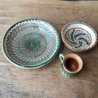 Handmade Decorative Pottery Saucer, Bowl, and Cup Set, Meant to Hang, Lovely Des