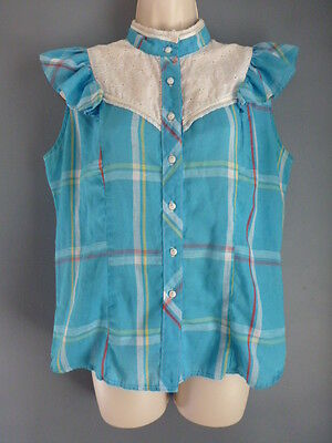 Women's vintage 70s blouse L Circle T blue plaid lace button down short sleeves