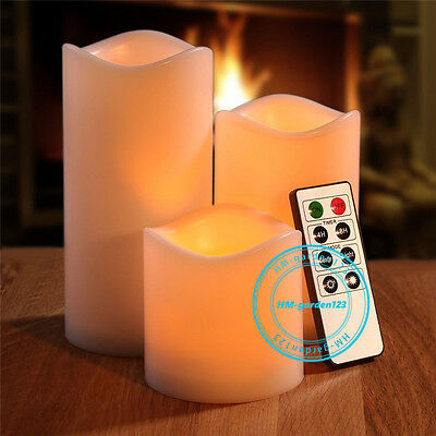 Set of 3 Large Flameless LED Wax Candle Flickering Lights Birthday Party Remote
