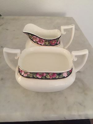Allertons Old English Bone China Rare Cream and Sugar Set Numbered in Gold