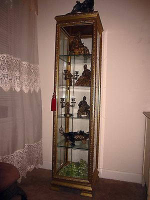 "Antique French Gold/Gild Curio Cabinet Display Case 64""-H 16""-W"