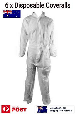 6 x Disposable Coveralls Overall Size L White with Hood Lightweight Breathable