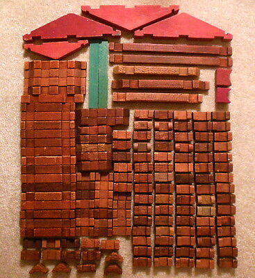 Vintage 1950s Halsam AMERICAN LOGS Square Wooden Lincoln Logs Lot of 150+ Pieces