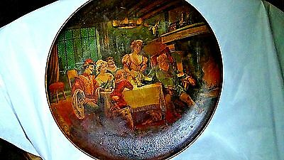 ANTIQUE 19c FRENCH HAND PAINTED LARGE METAL WALL PLAQUE FAMILY FIREPLACE SCENE