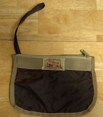 VINTAGE Light & Co. Nylon BROWN ZIPPER POUCH DOCUMENT HOLDER TRAVEL korea