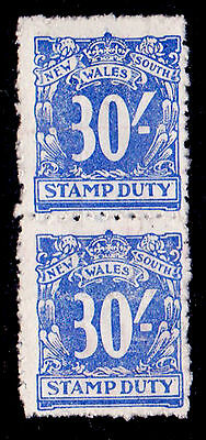 New South Wales Stamp Duty 30/- Blue Pair Mng