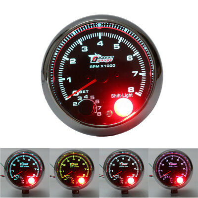 12V 3.75'' Rev Counter Tachometer Tacho Gauge + Adjust Shift Light 0-8000 RPM