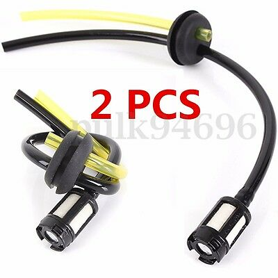 2pc Strimmer Brush Cutter Fuel Hose Pipe With Tank Filter For Petrol Strimmers