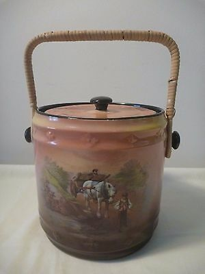 HK Tunstall Biscuit Barrel with cane handle Ca 1930s