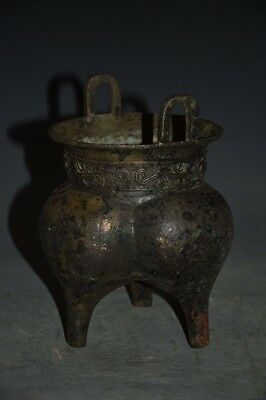 Chinese Dynasty Bronze Copper Three foot Beast Incense Burner Censer Ding