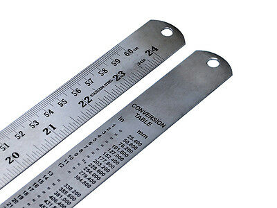 """60cm/24"""" Stainless Steel Ruler Metric & Imperial Markings,Conversion Table X1063"""