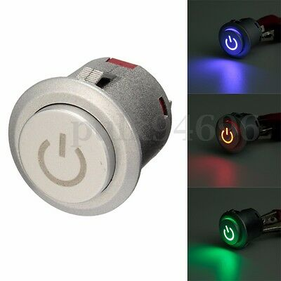 12V Metal LED Illuminated Latching 22mm Power Push Button ON/OFF Switch Car Dash