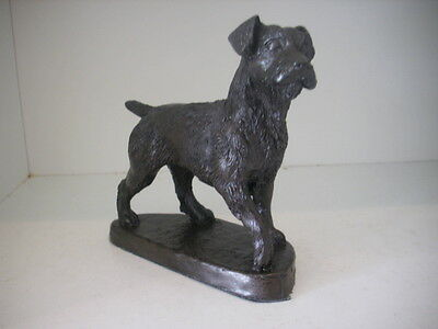 Rough Coated Patterdale Terrier As Trophy Collectable Figurine