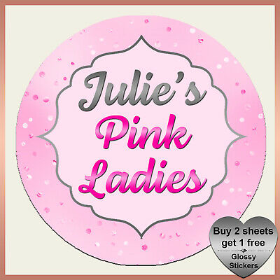 Personalised Grease PINK LADIES Hen Night Fancy Dress Stickers - Birthday party