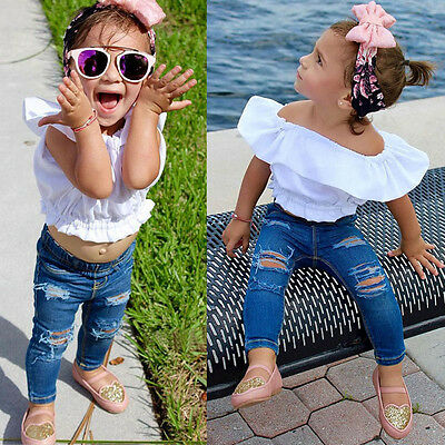 Toddler Baby Kids Girl Off Shoulder T-Shirt Top + Ripped Jeans Pants Outfits Set