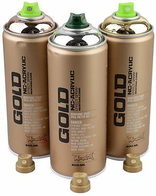 Montana Gold Spray Paint Cans Set Silver/Copper/Gold Chrome 3x400ml spare heads