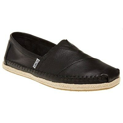 New Mens Toms Black Classic Leather Shoes Espadrilles Slip On