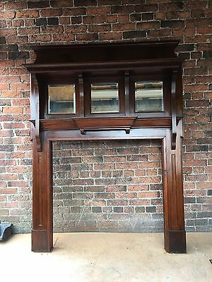 Beautiful Original Edwardian  solid Mahogany Fire Surround ( Del £25 Max )
