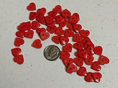 "RED HEARTS 2-hole Resin Buttons 3/8"" (11 x 10mm) Scrapbook Craft (1017) Pick Qty"
