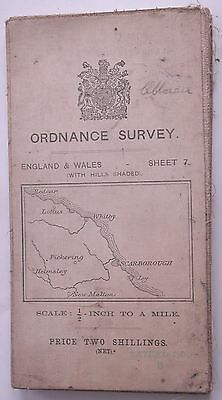 """WHITBY & SCARBOROUGH CLOTH map Ordnance Survey Map 1914 Sheet 7 1/2"""" TO 1 mile"""