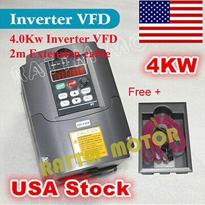 【US Stock】 4KW VFD 220V Inverter VSD Variable Frequency Drive 5HP For CNC Router