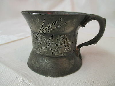 Antique Reed & Barton Silver plated Cup Etched Flowers Twig & Acorn Handle #658