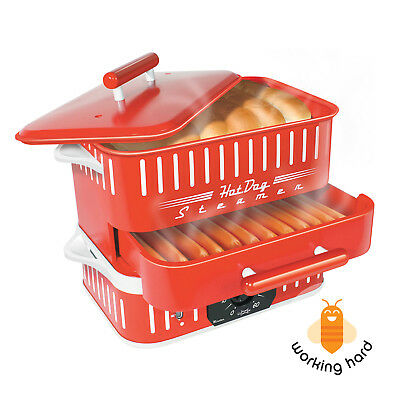 HOT DOG STEAMER MACHINE Electric Food Bun Warmer Cooker Red Retro Vintage