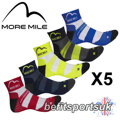 More Mile London Endurance Mens Womens Cushioned Running Sports Socks 5 Pairs